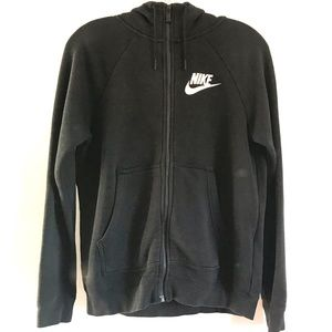 Nike Black Zip-up Hoodie Black Sweatshirt sz M